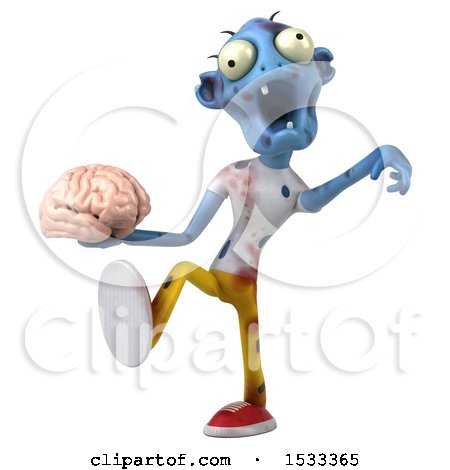 Clipart of a 3d Blue Zombie Holding a Brain, on a Yellow Background - Royalty Free Illustration by Julos