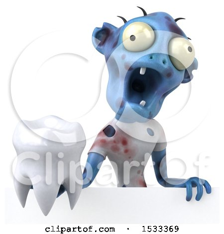 Clipart of a 3d Blue Zombie Holding a Tooth, on a Yellow Background - Royalty Free Illustration by Julos