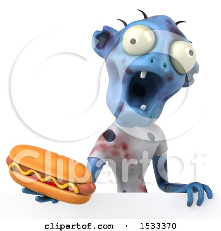 Clipart of a 3d Blue Zombie Holding a Hot Dog, on a Yellow Background - Royalty Free Illustration by Julos
