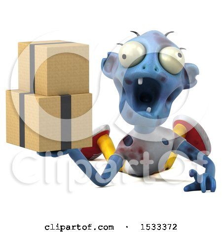 Clipart of a 3d Blue Zombie Holding Boxes, on a Yellow Background - Royalty Free Illustration by Julos