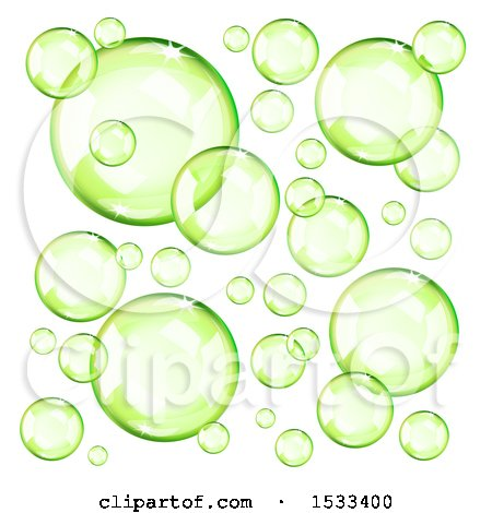 Clipart of Floating Green Bubbles - Royalty Free Vector Illustration by Oligo