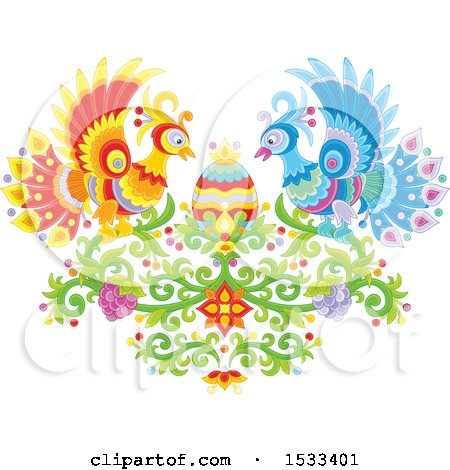 Clipart of a Floral Heart with Peacocks, Grapes and an Easter Egg - Royalty Free Vector Illustration by Alex Bannykh