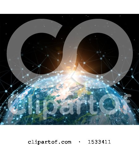 Clipart of a 3d Earth Globe with Connections at Sunrise - Royalty Free Illustration by KJ Pargeter