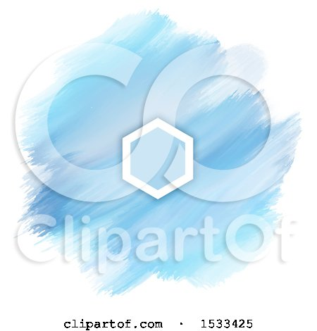 Blank Frame on a Watercolor Painting of Blue Strokes on White Posters, Art Prints