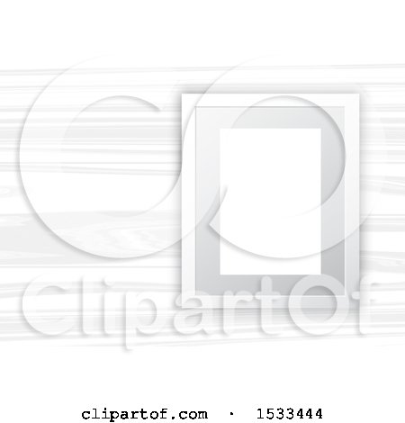 Clipart of a Blank Picture Frame on White Wood - Royalty Free Vector Illustration by KJ Pargeter