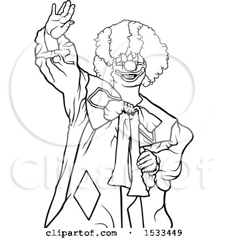 Clipart of a Lineart Clown Waving - Royalty Free Vector Illustration by dero