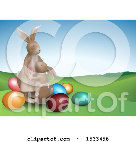 Clipart of a Bunny Mom and Daughter with Easter Eggs - Royalty Free Vector Illustration by dero