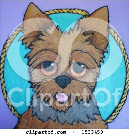 Clipart of a Painting of a Cute Silky Terrier Dog - Royalty Free Illustration by Maria Bell