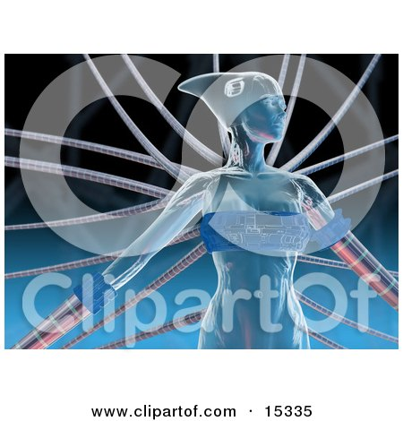 Blue Futuristic Human Female Or Alien Connected To Cables Clipart Illustration Image by 3poD