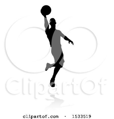 Clipart of a Silhouetted Basketball Player Slam Dunking, with a Reflection or Shadow - Royalty Free Vector Illustration by AtStockIllustration