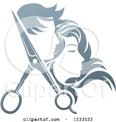 Clipart of a Pair of Hair Cutting Scissors with Profiled Male and Female Heads - Royalty Free Vector Illustration by AtStockIllustration