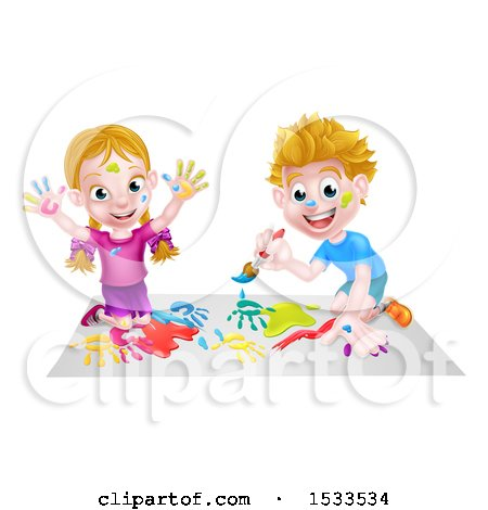 Caucasian Boy and Girl Kneeling and Painting Posters, Art Prints