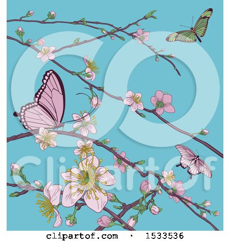 Clipart of a Background of Butterflies and Branches with Spring Blossoms over Blue Sky - Royalty Free Vector Illustration by AtStockIllustration