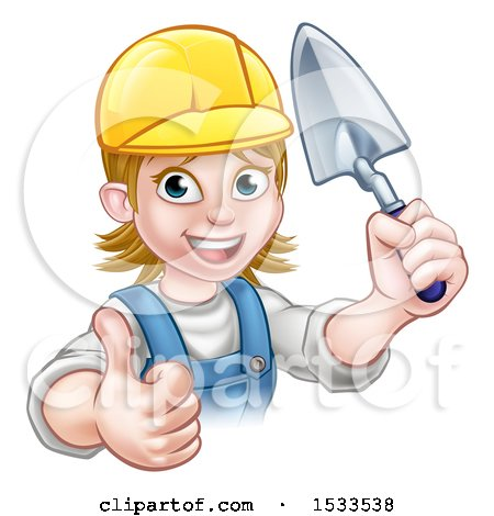Clipart of a Female Mason Holding a Trowel and Giving a Thumb up - Royalty Free Vector Illustration by AtStockIllustration