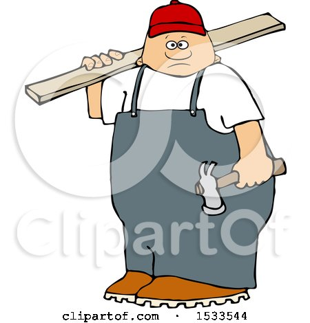 Clipart of a White Male Carpenter Carrying a Wood Board - Royalty Free Vector Illustration by djart