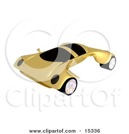 Futuristic Golden Concept Car With A Neat And Fast Design  Posters, Art Prints