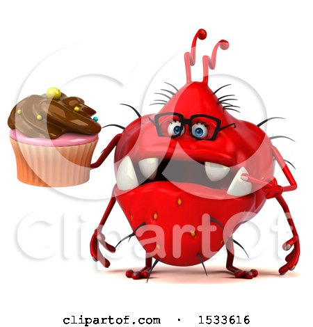 Clipart of a 3d Red Germ Monster Holding a Cupcake, on a White Background - Royalty Free Illustration by Julos