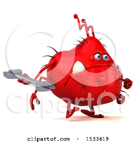 Clipart of a 3d Red Germ Monster Holding a Wrench, on a White Background - Royalty Free Illustration by Julos