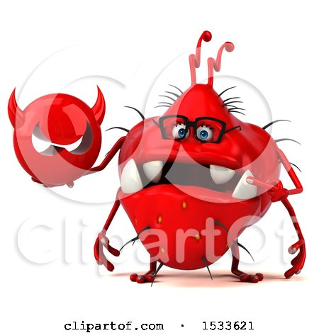 Clipart of a 3d Red Germ Monster Holding a Devil, on a White Background - Royalty Free Illustration by Julos