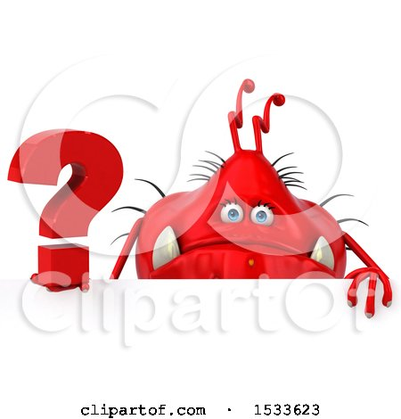 Clipart of a 3d Red Germ Monster Holding a Question Mark, on a White Background - Royalty Free Illustration by Julos