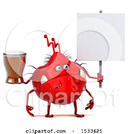 Clipart of a 3d Red Germ Monster Holding a Beer, on a White Background - Royalty Free Illustration by Julos