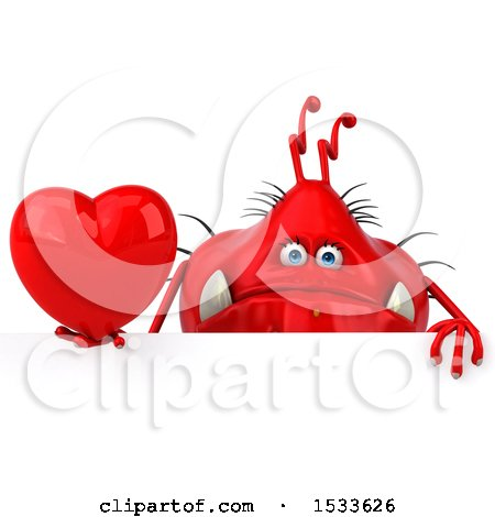 Clipart of a 3d Red Germ Monster Holding a Heart, on a White Background - Royalty Free Illustration by Julos