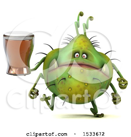 Clipart of a 3d Green Germ Monster Holding a Beer, on a White Background - Royalty Free Illustration by Julos