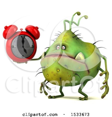 Clipart of a 3d Green Germ Monster Holding an Alarm Clock, on a White Background - Royalty Free Illustration by Julos