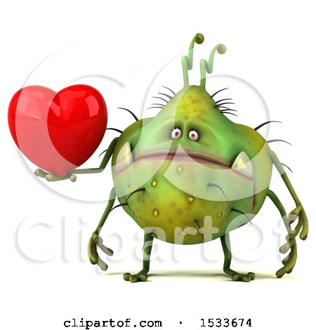 Clipart of a 3d Green Germ Monster Holding a Heart, on a White Background - Royalty Free Illustration by Julos