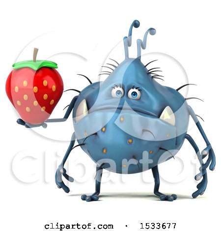 Clipart of a 3d Blue Monster or Germ Character Holding a Strawberry, on a White Background - Royalty Free Illustration by Julos