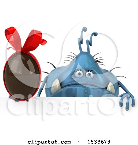 Clipart of a 3d Blue Monster or Germ Character Holding a Chocolate Egg, on a White Background - Royalty Free Illustration by Julos
