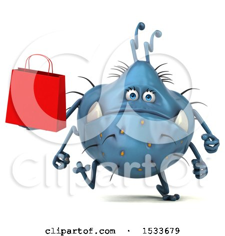 Clipart of a 3d Blue Monster or Germ Character Holding a Shopping Bag, on a White Background - Royalty Free Illustration by Julos