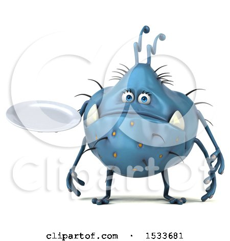 Clipart of a 3d Blue Monster or Germ Character Holding a Plate, on a White Background - Royalty Free Illustration by Julos