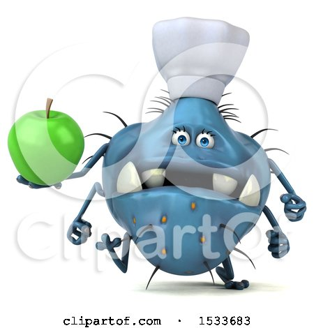 Clipart of a 3d Blue Monster or Germ Character Holding an Apple, on a White Background - Royalty Free Illustration by Julos
