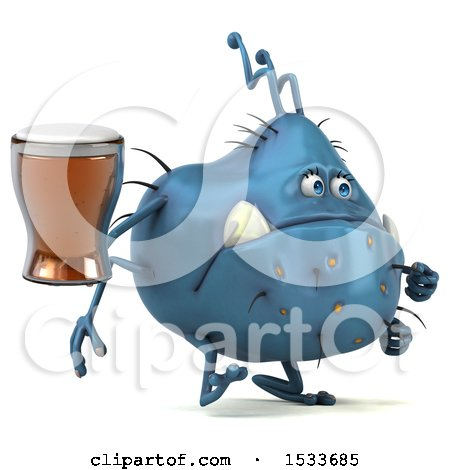 Clipart of a 3d Blue Monster or Germ Character Holding a Beer, on a White Background - Royalty Free Illustration by Julos