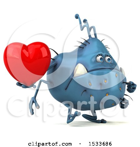 Clipart of a 3d Blue Monster or Germ Character Holding a Heart, on a White Background - Royalty Free Illustration by Julos