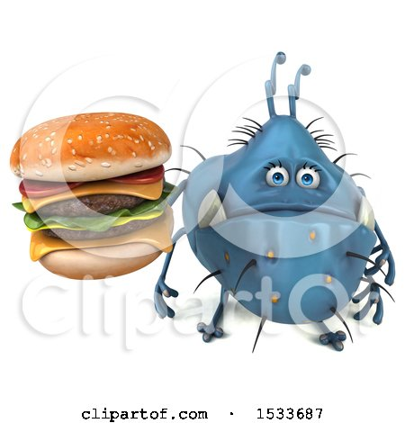 Clipart of a 3d Blue Monster or Germ Character Holding a Burger, on a White Background - Royalty Free Illustration by Julos