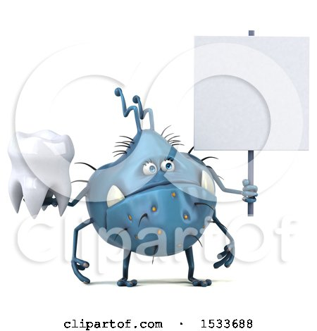 Clipart of a 3d Blue Monster or Germ Character Holding a Tooth, on a White Background - Royalty Free Illustration by Julos