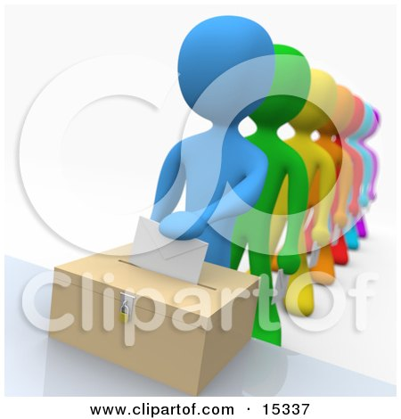 http://images.clipartof.com/small/15337-Blue-Person-Standing-At-The-Front-Of-A-Line-Of-Diverse-Voters-Putting-Their-Voting-Envelope-In-A-Ballot-Box-During-A-Presidential-Election-Clipart-Illustration-Image.jpg