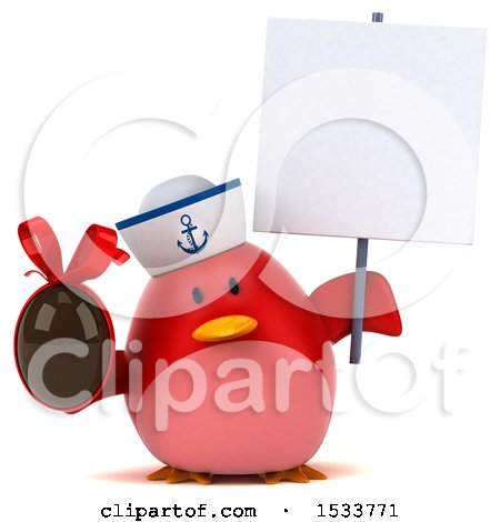 Clipart of a 3d Red Bird Sailor Holding a Chocolate Egg, on a White Background - Royalty Free Illustration by Julos
