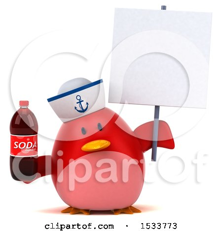 Clipart of a 3d Red Bird Sailor Holding a Soda, on a White Background - Royalty Free Illustration by Julos