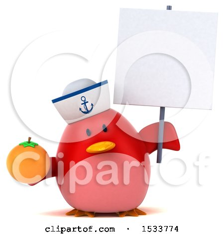 Clipart of a 3d Red Bird Sailor Holding an Orange, on a White Background - Royalty Free Illustration by Julos