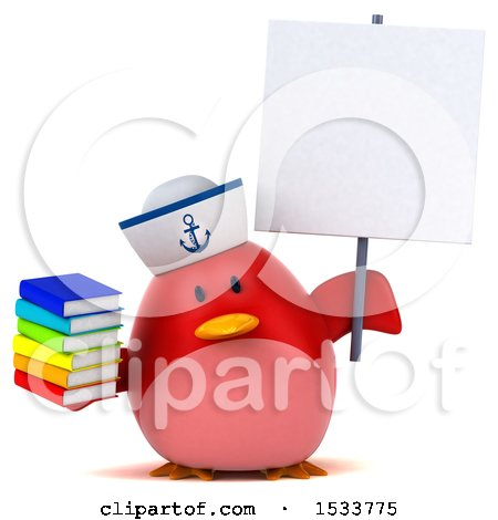 Clipart of a 3d Red Bird Sailor Holding Books, on a White Background - Royalty Free Illustration by Julos
