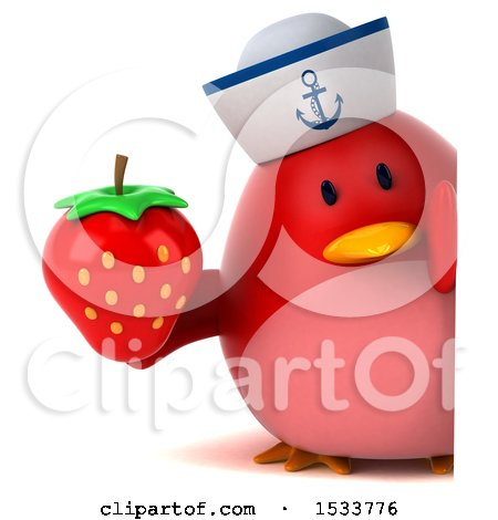Clipart of a 3d Red Bird Sailor Holding a Strawberry, on a White Background - Royalty Free Illustration by Julos