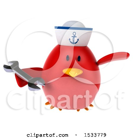Clipart of a 3d Red Bird Sailor Holding a Wrench, on a White Background - Royalty Free Illustration by Julos