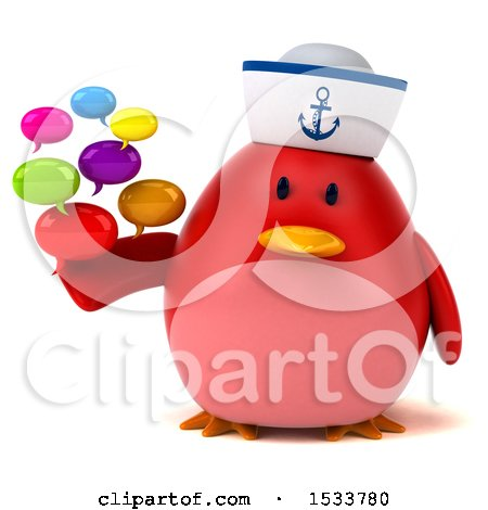 Clipart of a 3d Red Bird Sailor Holding Messages, on a White Background - Royalty Free Illustration by Julos