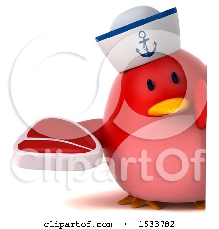 Clipart of a 3d Red Bird Sailor Holding a Steak, on a White Background - Royalty Free Illustration by Julos
