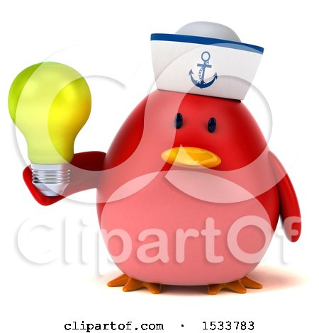 Clipart of a 3d Red Bird Sailor Holding a Light Bulb, on a White Background - Royalty Free Illustration by Julos