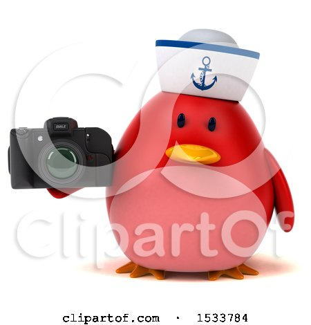 Clipart of a 3d Red Bird Sailor Holding a Camera, on a White Background - Royalty Free Illustration by Julos