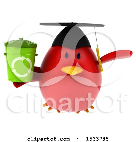 Clipart of a 3d Red Bird Graduate Holding a Recycle Bin, on a White Background - Royalty Free Illustration by Julos